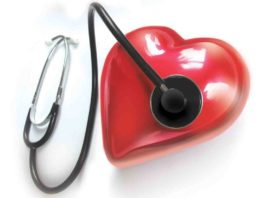 Hypertension is symbolized with a stethoscope on a heart