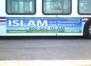 A bus advertisement for Islam is displayed.