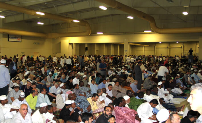Thousands of Muslims gather for a united prayer in Cabarrus arena.