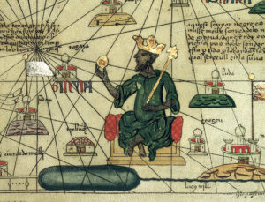 Mansu Musa depicted on an old manuscript describing his kingdom.