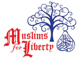 Muslims 4 Liberty logo illustrates the tree and fruit of knowledge with text that is reminiscent of calligraphy styles used on documents that founded America.