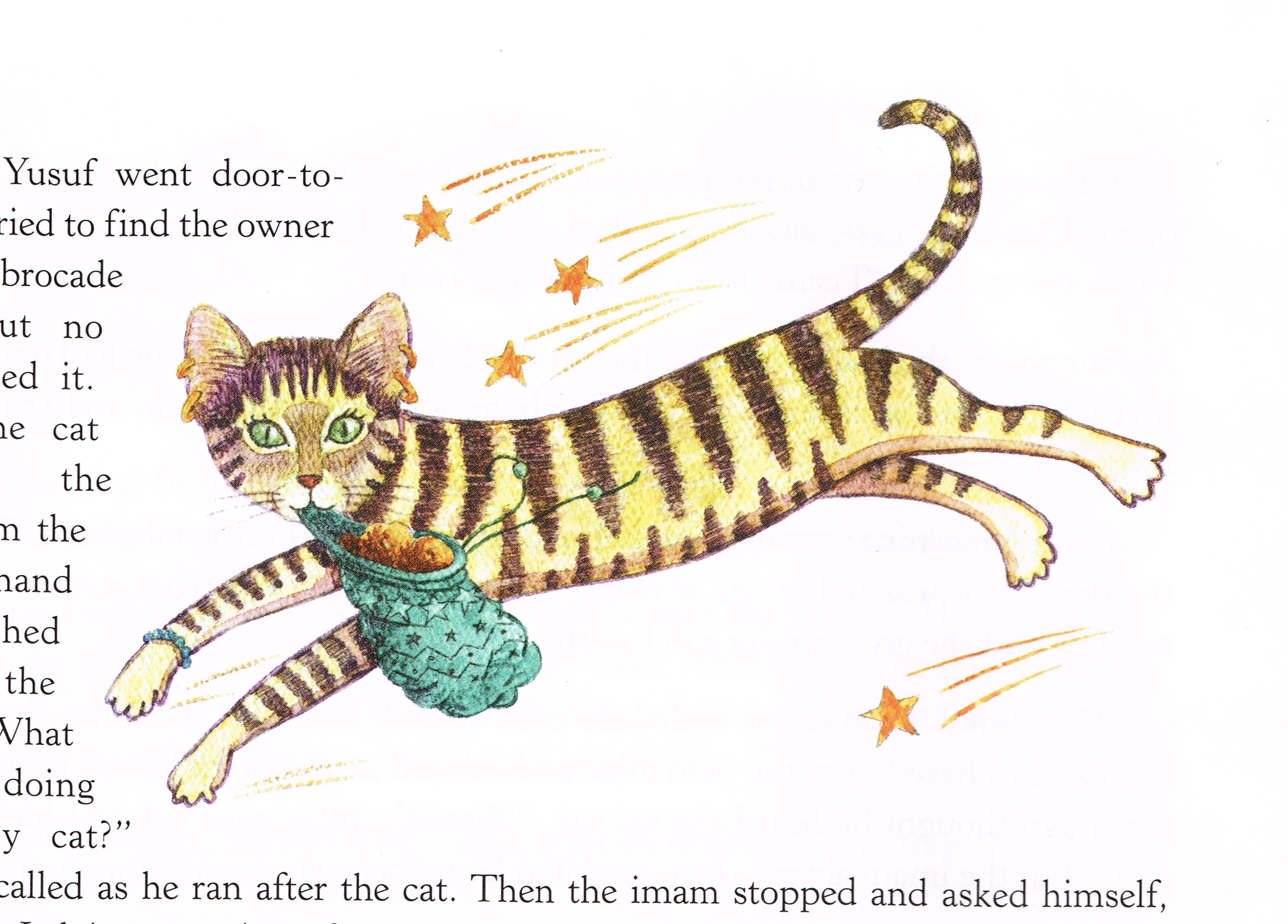 """Whisper Cat is beautifully illustrated and hand-colored in the book """"Where the Ghost Camel Grins"""""""