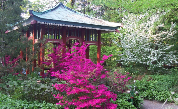 A small, gazebo-sized pagoda sits among trees and cherry blossoms in an idyllic garden.