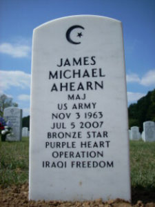 The gravestone of James Michael Ahearn, a Muslim American soldier who fought in Operation Iraqi Freedom and was decorated with the Bronze Star and the Purple Heart.