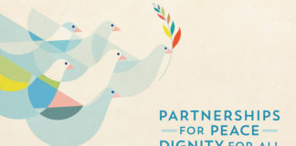 Doves symbolizing peace and a multicolored olive branch representing the diversity of the planet are symbols of the International day of Peace.