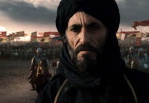 Saladdin, standing in front of an army, as portrayed by Ghassan Massoud in Ridley Scott's Kingdom of Heaven is a rare moment where Muslim characters have been portrayed in a positive light by Hollywood.